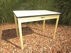 """Vintage White Enamel Top Table with drawer 40"""" x 25"""" Nice!"""