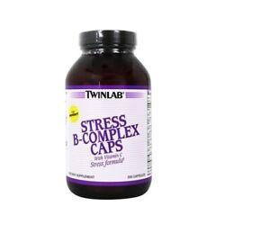 TwinLab Stress B-Complex Caps with Vitamin C - B Vitamin Energy Pills (250 caps)