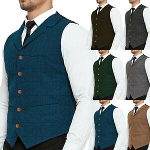 Tweed Blue Vest Retro Men Waistcoat Vintage Herringbone Tailored Lined Business