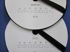 VELCRO COSER NEGRO 2 ROLLOS de 25 mts. GANCHO + RIZO