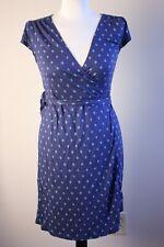 NWT Old Navy S Navy Blue Tie V-Neck Dot Print Wrap Dress NEW