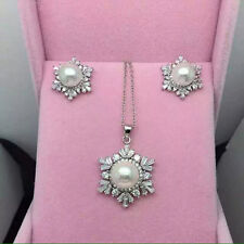 Genuine 8-9mm Freshwater Pearl necklace and earring set S925 Sterling silver