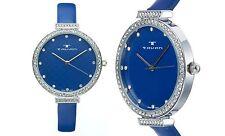 NEW Tavan Dori 10032 Womens Navy Blue Leather Band Swarovski Crystal Bezel Watch