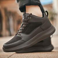 Men's Leather Fur Lining Warm Waterproof Casual Shoes Walking Outdoor Sneakers