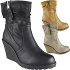 New Womens Ladies Fleece Lined Mid Heel Wedge Work Office Ankle Boots Shoes Size