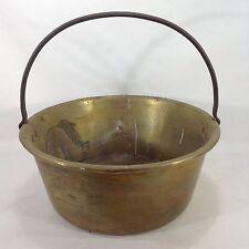 Antique Spun Brass Pail Pot Kettle with Iron Handle 14 Inch Diameter