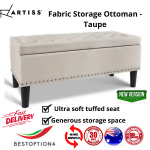 Artiss Fabric Storage Ottoman Bed Seat Foot Stool Foam Edge Linen Bench Blanket