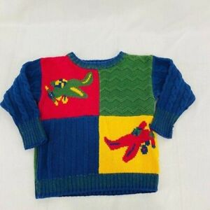 Vintage 80s Gymboree Sweater Airplane Color Block Jumper Pullover Sweater Xsmall