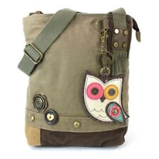 New Chala Messenger Patch Crossbody OWL II Bag Canvas Olive Green Coin Purse
