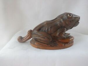 "ANTIQUE HAND CARVED WOODEN TABLE NUTCRACKERS IN SHAPE OF FROG 8"" LONG  C.1890's"
