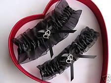 Double Heart Wedding Garters Set BLACK on BLACK - Prom