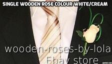 buttonhole wooden rose wedding WHITE /CREAM