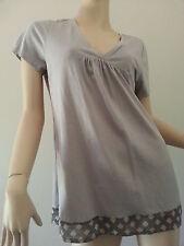 WITCHERY grey cotton blend v-neck top t-shirt argyle trim size M BNWT
