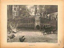 Bombardement La halle aux draps d'Ypres Belgique Dessin Paul Madeline 1915 WWI