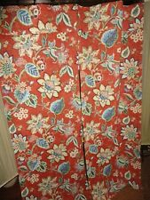 WAVERLY BRIGHTON BLOSSOMS JACOBEAN BRICK RED FLORAL (2PC) FRENCH DOOR PANELS