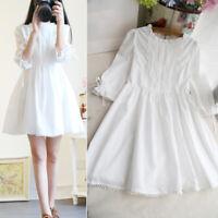 Dress Short Fairy Party Kawaii Spring Sweet Girl Cute White Skirt Round Neck