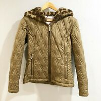 Spyder   Womens 6 Army Green Quilted Leopard Faux Fur Hood Winter Jacket