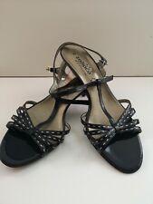 Zodiaco Black Heeled Sandals Shoes Size UK 7 EU 40