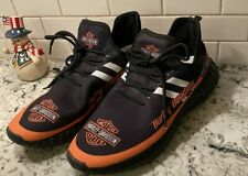 New listing HARLEY DAVIDSON Orange & Black Logo Athletic Tennis Shoes Men's Size 9.5 US 43UK