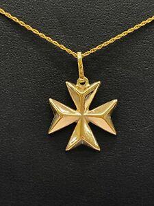9ct 9K Yellow Gold Maltese Cross Pendant 4.2 Grams. Brand New