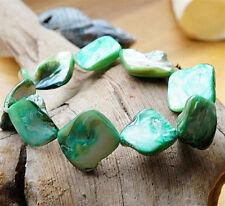 Armband ab 16 cm Perlmutt Türkis Grün Silber irisierend elastisch Muschel Eckig