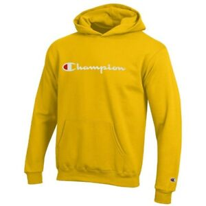 Champion Classic Script Logo Youth (Champion Yellow) Powerblend Pullover Hoodie