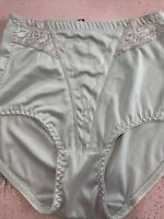 Vintage Girdle Panties Brief Lace Insert Scalloped Tummy Control Mint Green L