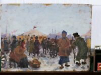 OLD ANTIQUE RUSSIAN PAINTING IMPRESSIONIST PENZA ? MARKET FAIR PEOPLE RUSSIA