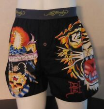 Ed Hardy Men's Woven Boxer Button Fly Shorts Open Mouth Tiger Size M New