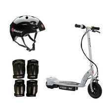 Razor E100 Motorized Silver Electric Scooter w/ Black Helmet & Deluxe Safety Set