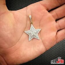 Mens 14k Gold Finish .925 Silver Star Pendant Charm Hip Hop Simulated Diamond