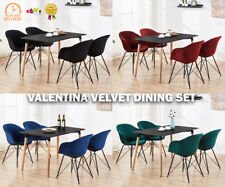 Valentina Velvet Dining Set - 4 x Chairs & Black Halo Large Dining Table Modern