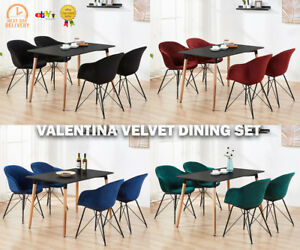Modern Black Dining Table Set with Velvet Chairs Black / White Dining Table