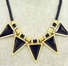 Triangle Geometric Metal Pendant Chain Chunky Choker Statement Bib Necklace gift