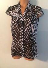 •• Women's Worthington Size Medium Button Down Shirt Sheer Blouse Nice!