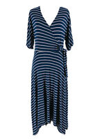 Studio B Women's Blue & Pink Striped Short Sleeve V-Neck Wrap Dress Size Medium