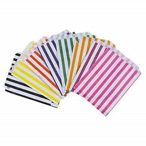STRIPED CANDY PAPER BAGS SWEET FAVOURS PARTY BUFFET 17 x 23 cm CHOOSE QUANTITY