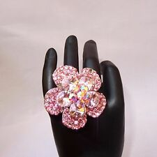 Big Bold Adjustable Pink Crystal Party Flower Cocktail Ring Jewellery for women