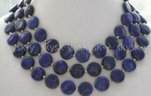 Beautiful Natural 12/14mm coin blue lapis lazuli Gemstone beads Necklace 36/50''