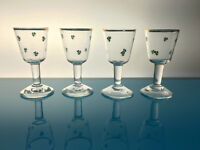 set of 4 vintage shamrock Irish cordial aperitif glasses barware