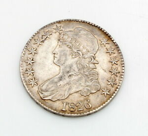 1826 UNITED STATES CAPPED BUST LIBERTY HALF DOLLAR 90% SILVER COIN NO RES#CB73-7