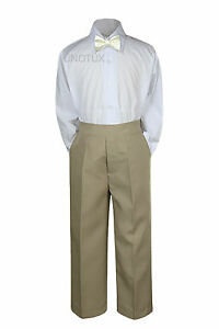 3pc Shirt Khaki Pants Bow Tie Set Baby Toddler Kids Boys Wedding Formal Suit S-7