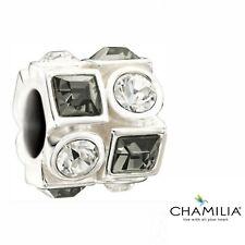 Genuine Chamilia silver 925 blk clear circles & squares bracelet charm 2083-0403