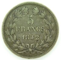 .FRANCE 1842 5 FRANCS SILVER COIN.