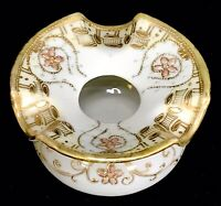 RARE Antique Nippon Moriage Gold Gilt Hand Painted Ashtray Spittoon Smoking