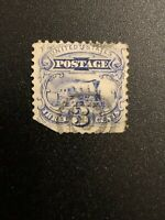 US Stamp Sc #114 Grill Target Cancel 3 Cent Blue Locomotive Train 1869 Pictorial