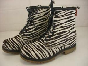 Women's 7.5 8 sz 38 Blackboots Black Boots Zebra Hair Calf Combat Boots Lace-Up