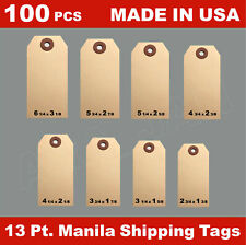 100 Manila 13 Pt Inventory Shipping Hang Label Price Tags Size 12345678