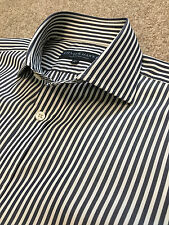 WORN ONCE GIEVES & HAWKES NAVY BENGAL STRIPE DOUBLE CUFF SHIRT 15.5 COST £130