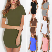 Womens T Shirt Dress Casual Stretch Bodycon Tunic Evening Party Wrap Mini Dress